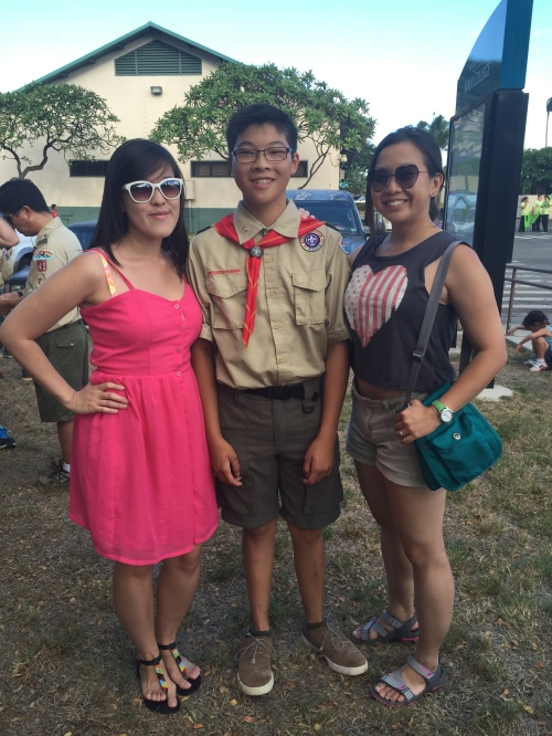 At the Maui County Fair Parade with our littlest brother, who's now a Boy Scout.