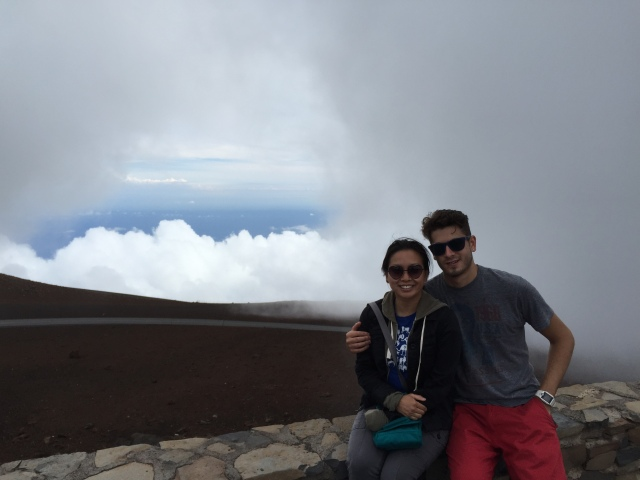 On the summit of Haleakala, one of Maui's dormant volcanoes. At 10,023 feet above sea level, we're also above the clouds!