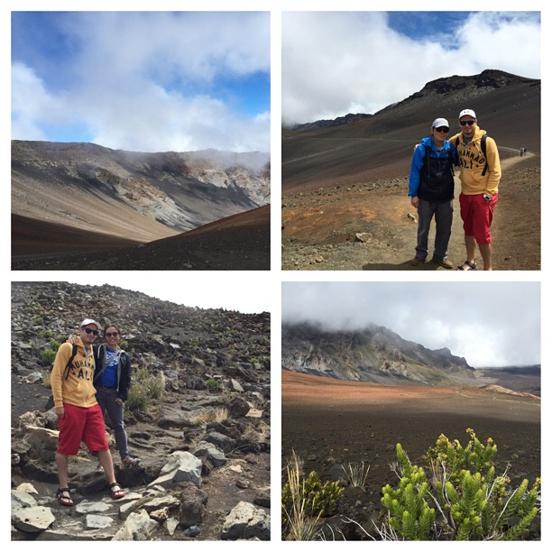 Hiking the Sliding Sands Trail on Haleakala, one of Maui's dormant volcanoes. My dad was our tour guide!